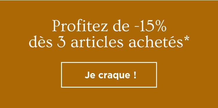 -15% supp. dès 3 articles soldés achetés
