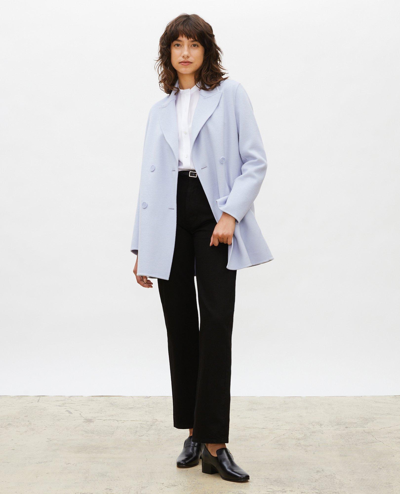 Manteau caban en lainage double