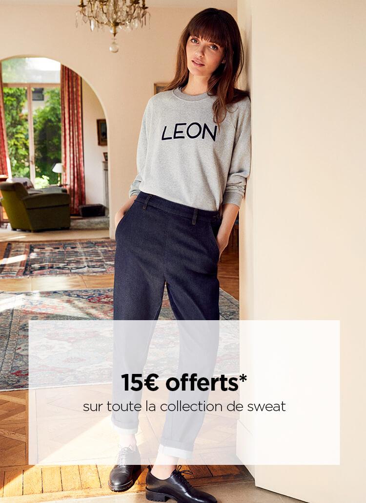 15€ offerts sur une toute la collection de sweat